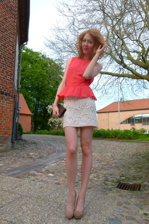 red peplum H&M top - eggshell sequin H&M skirt