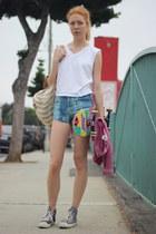 blue Monki shorts - coral pink Victorias Secret sweatshirt