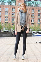 light brown Zara blazer - black disco pants American Apparel pants
