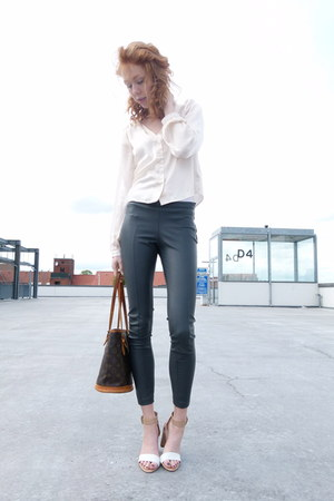 charcoal gray pleather H&M pants - cream silky Forever21 shirt