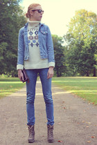 cream Minimum jumper - sky blue Diesel jeans - sky blue Levis jacket