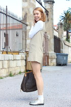 light brown 60s H&M dress - white Tommy Hilfiger shirt