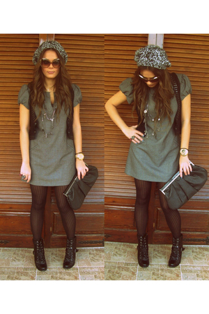 gray dress - black vest