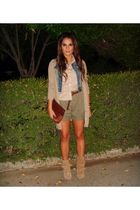 beige Zara cardigan - green Zara shorts - beige Zara shirt - blue Tally Weijl ve