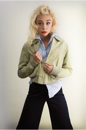 lime green SoLovesVintage jacket - blue striped shirt Topshop shirt