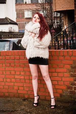white real fur jacket SoLovesVintage jacket - black SoLovesVintage dress