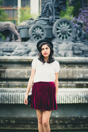 velvet American Apparel skirt - H&amp;M hat - Zara shirt
