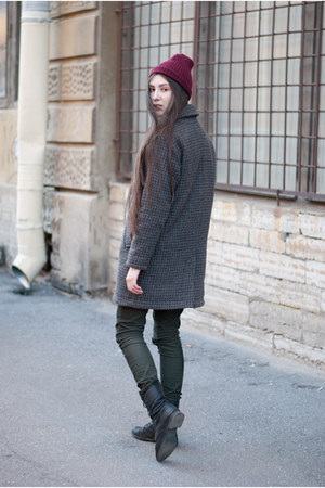 black leather lace-up pull&bear boots - heather gray wool Extra coat
