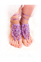 Purple crochet barefoot sandals. Sexy foot jewelry
