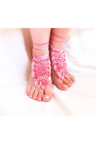 Pink crochet barefoot sandals nude shoes, Lolita, sexy lace foot jewelry,
