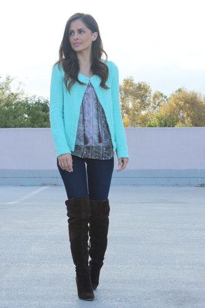 blue Gap jeans - brown sam edelman boots - light blue Make Noise blazer