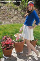 blue Urban Renewal sweater - white H&M dress - beige Steve Madden shoes - blue v