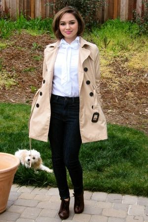 beige trench coat H&M jacket - brown oxfords Jeffrey Campbell shoes