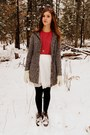Dark-brown-vintage-boots-white-forever-21-dress-coral-vintage-sweater
