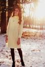 Mustard-unknown-necklace-cream-vintage-dress-crimson-target-tights