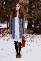 charcoal gray Target cardigan - light blue vintage dress