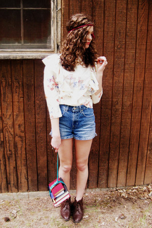 dark brown vintage boots - blue Old Navy shorts - ivory butterfly print vintage