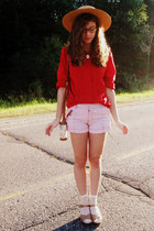 red vintage anne klein blouse - ivory thrifted shorts - tan Target heels