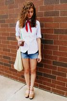 neutral Target heels - red unknown scarf - beige Walmart bag
