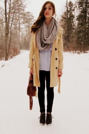 silver Charlotte Russe scarf - eggshell Tulle coat - black Wet Seal leggings