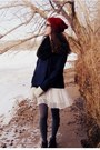White-forever-21-dress-brown-vintage-boots-brick-red-handmade-hat
