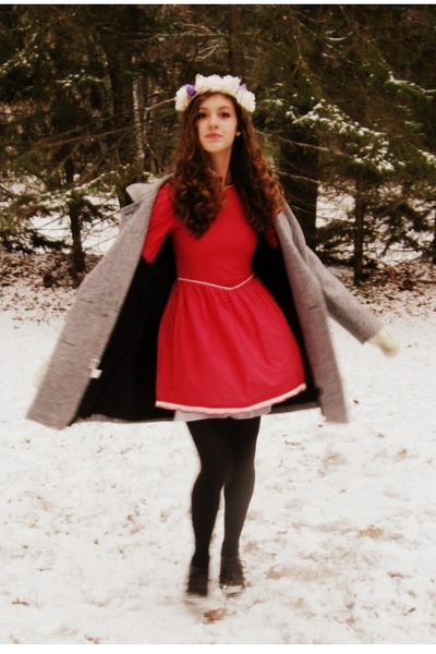 red vintage dress - silver vintage coat - black unknown brand tights
