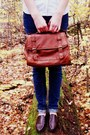 Navy-target-jeans-brick-red-handmade-hat-burnt-orange-claires-bag