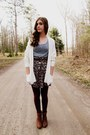 Charcoal-gray-floral-vintage-skirt-burnt-orange-steve-madden-boots