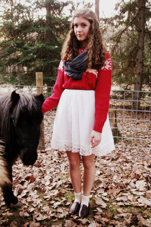 ruby red Lands End sweater - white Forever 21 dress - charcoal gray Target scarf
