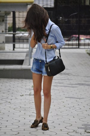 H&M shirt - denim shorts Zara shorts - leopard print Massimo Dutti loafers