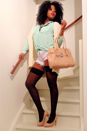mama bag - Tally Weijl sweater - Tally Weijl shorts - Primark heels - H&M top