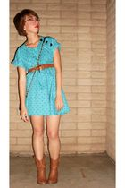 blue thrifted dress - brown Ross boots