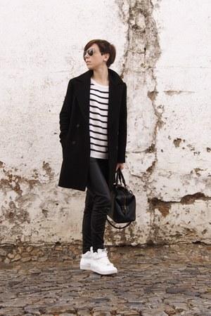 black leather pants Zara coat - navy sneakers Mango sweater