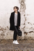 black leather pants Zara coat - navy sneakers Mango sweater