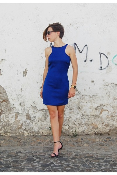 blue blue dress Mango dress - black clubmaster Ray Ban sunglasses