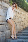 black sport shorts Urban Classisc shorts - ivory casual chic Mango shirt