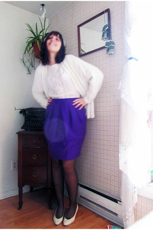 homemade cardigan - handmade shirt - vintage skirt - Browns heels