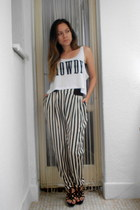 black sandals - Republic pants - white crop top New Yorker top