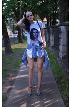 white skort Zara shorts - white fishbone t-shirt - sky blue H&M blouse