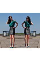 black leather thrift skirt - black LHS - style by Mariliis Anger sunglasses