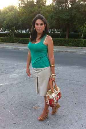 verde bag - Stradivarius top - attrattivo wedges - Accessorize accessories