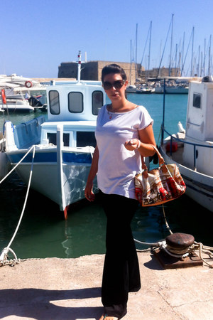 black Zara pants - verde bag - dark brown toi moi sunglasses - white Mango top