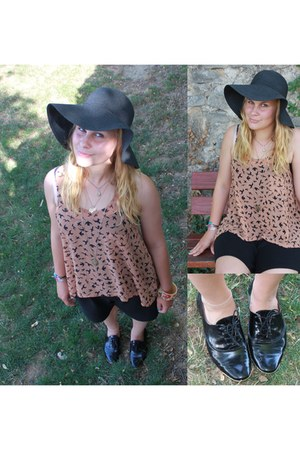 black American Apparel hat - black Zara shoes - tawny birds new look top