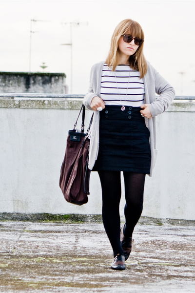 stripes H&M shirt - lolita shoes - ray ban wayfarer sunglasses