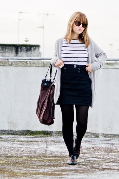 stripes H&M shirt - lolita shoes - ray ban wayfarer sunglasses