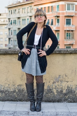 black Zara cardigan - white Zara shirt - black Chanel accessories - gray Zara sk