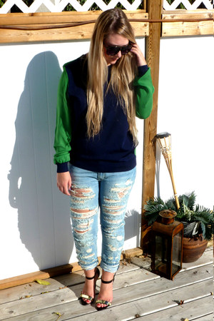 sky blue Pull and Bear jeans - green 31 Phillip Lim for Target sweater