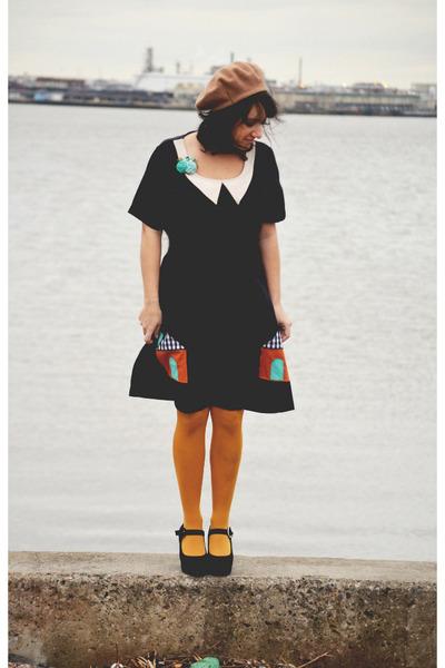 carrot orange houses modcloth dress - black mary janes Jeffrey Campbell shoes