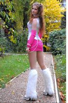 white top - white top - pink jennyfer skirt - white Markiza socks - white New Ro