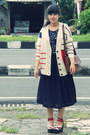 Beige-striped-qqone-cardigan-blue-mickey-centro-dept-store-scarf